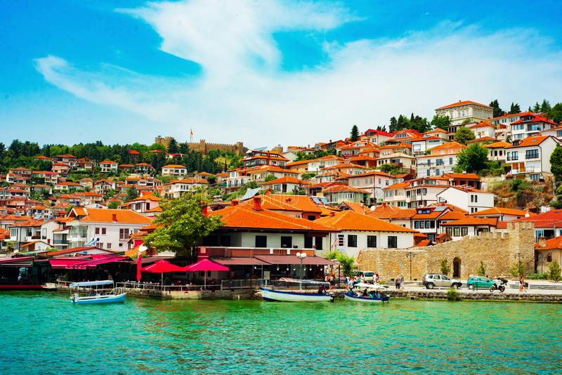 North macedonia. Ohrid. Different buildings and houses with red roofs on hill.  royalty free stock photo