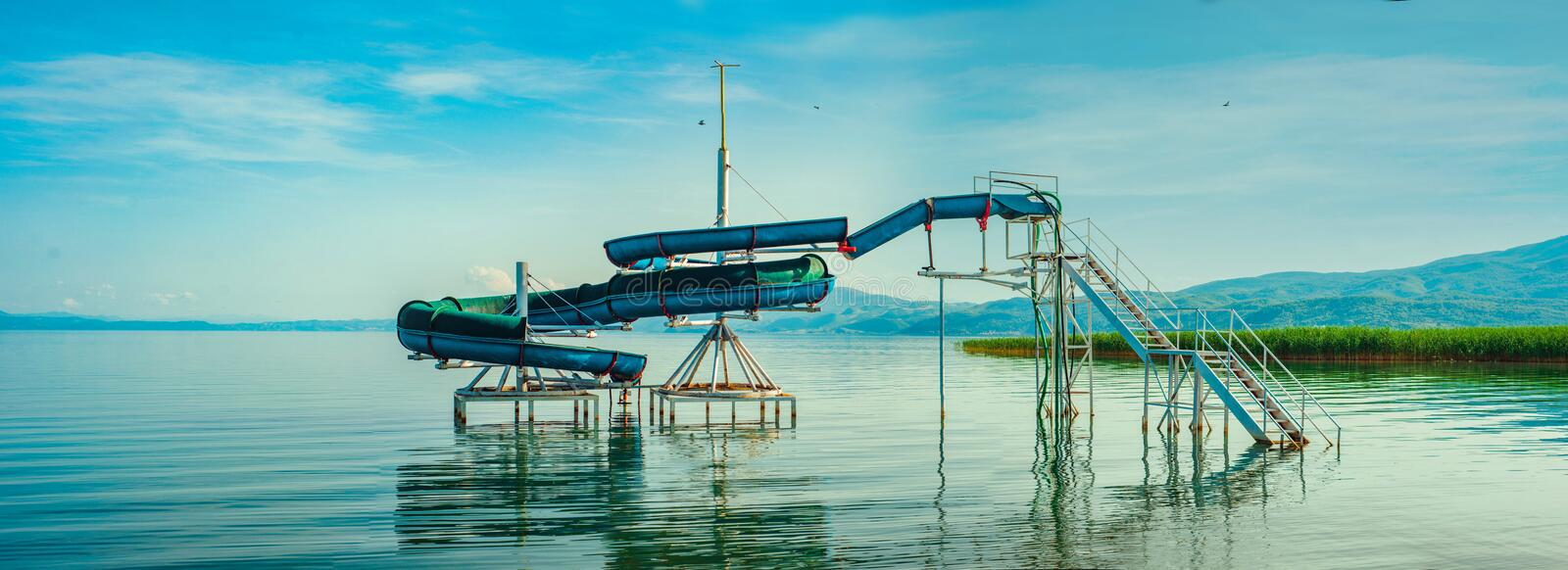 North macedonia. Ohrid. Water slide in water of ohrid lake color.  stock photography