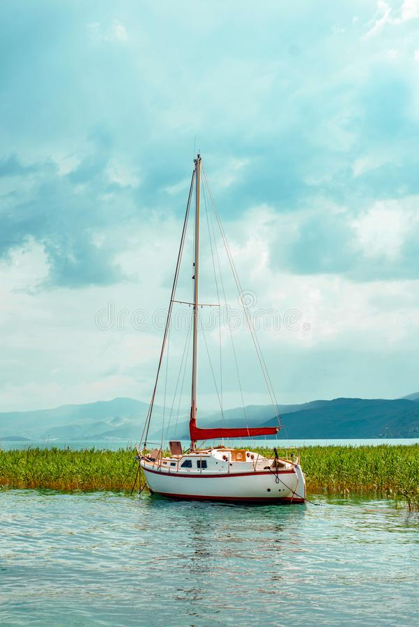 North macedonia. Ohrid. White sailboat on Ohrid lake beside reeds in sunny day.  royalty free stock images