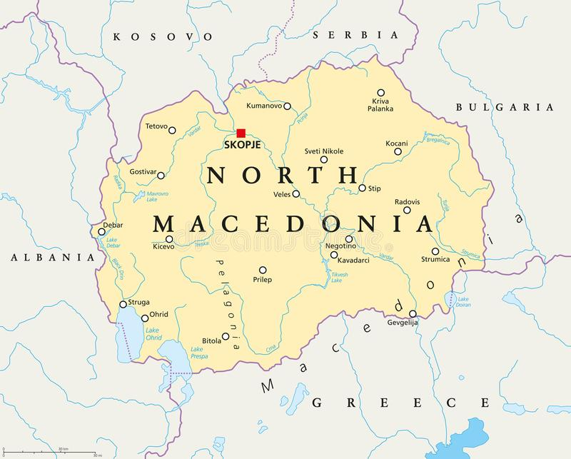 North Macedonia political map stock illustration