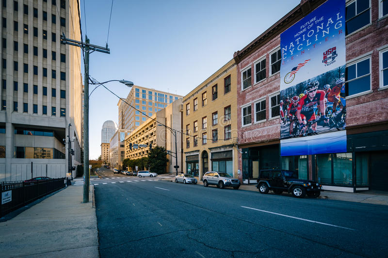 North Main Street, in downtown Winston-Salem, North Carolina. stock images