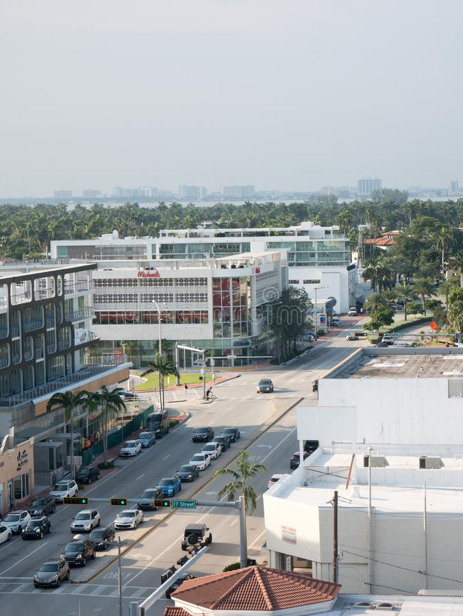 North Miami, Florida,USA. August 2019: Street view on a Miami street in regular weekday.  royalty free stock photos