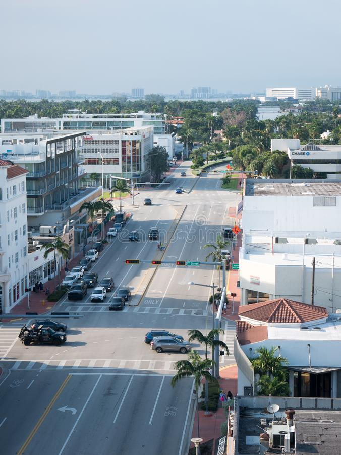 North Miami, Florida,USA. August 2019: Street view on a Miami street in regular weekday.  stock images