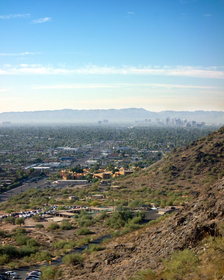 North Mountain Park, Arizona, AZ. Cool October morning at North Mountain Park hiking trails in Phoenix, Arizona; Copyspace stock photo