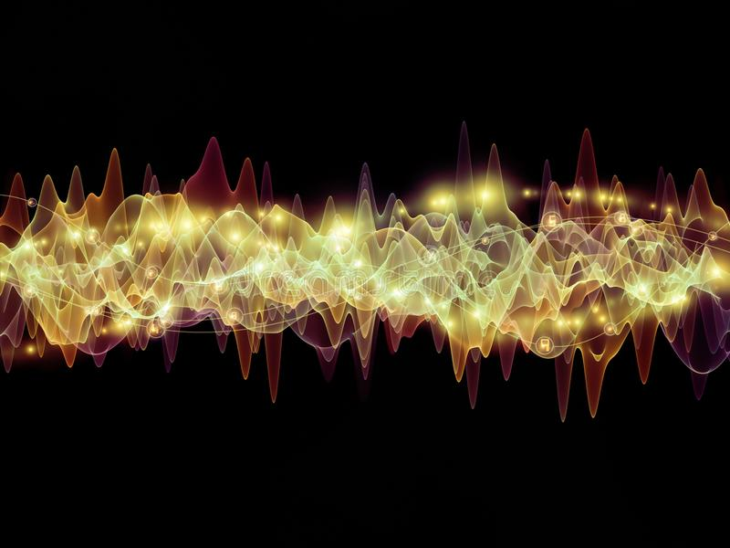 North of Oscillation. Wave Function series. Creative arrangement of colored sine vibrations, light and fractal elements as a concept metaphor on subject of sound vector illustration