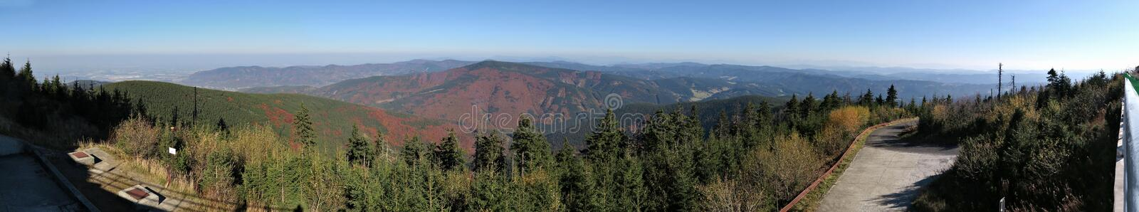 North panorama view from the slopes of Lysa hora mountain in Beskydy mountains royalty free stock image