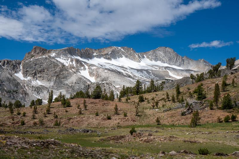 North Peak and Mount Conness along the Saddlebag Lake Loop trail in Eastern Sierra Nevada Calfornia, Mono County stock image