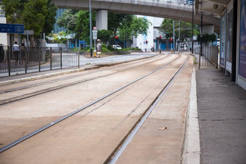 North Point, Hong Kong S A r - 13. Juli 2017: Doppelte Bahn Tram stockbild