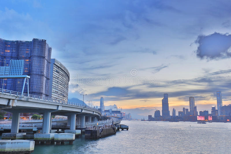 North Point pirsikt av den kowloon sidan arkivfoton