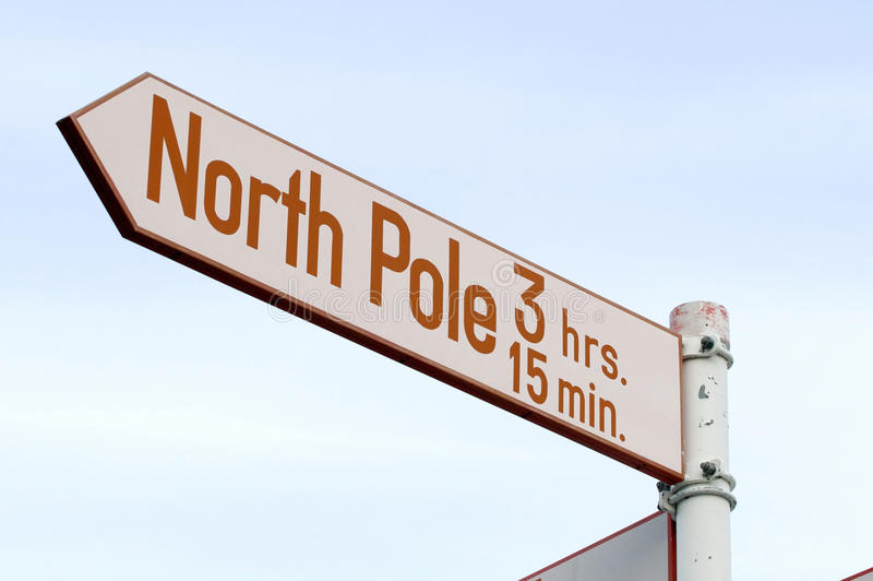 North Pole 3 hrs 15 min. Road sign to the North Pole! Red and white sign on metal pole stock image