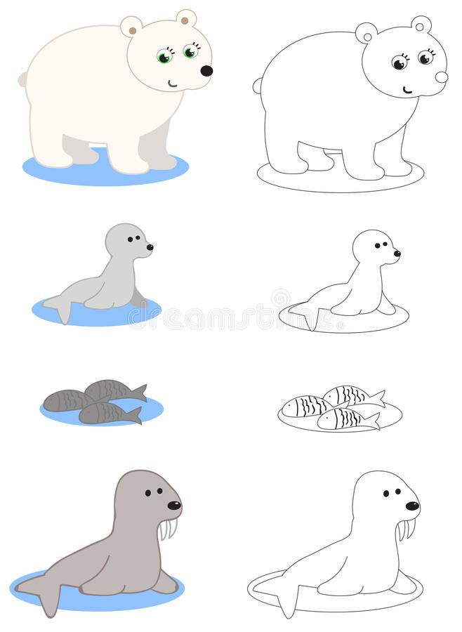 North pole animals coloring vector royalty free illustration