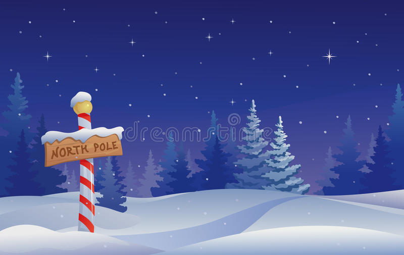 North pole. Christmas illustration with a North Pole sign