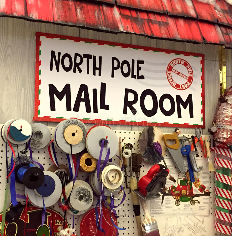 North Pole post office mail room. Wrapping central at North Pole royalty free stock photo