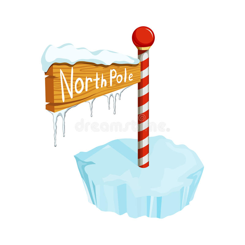 North Pole sign. Christmas North Pole sign. Christmas holiday object. Christmas North Pole sign vector illustration. Cartoon North Pole sign with ice floe vector illustration