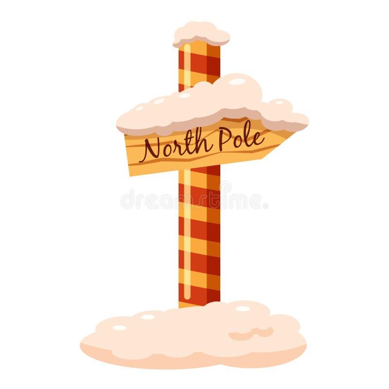 North Pole sign icon, cartoon style stock illustration