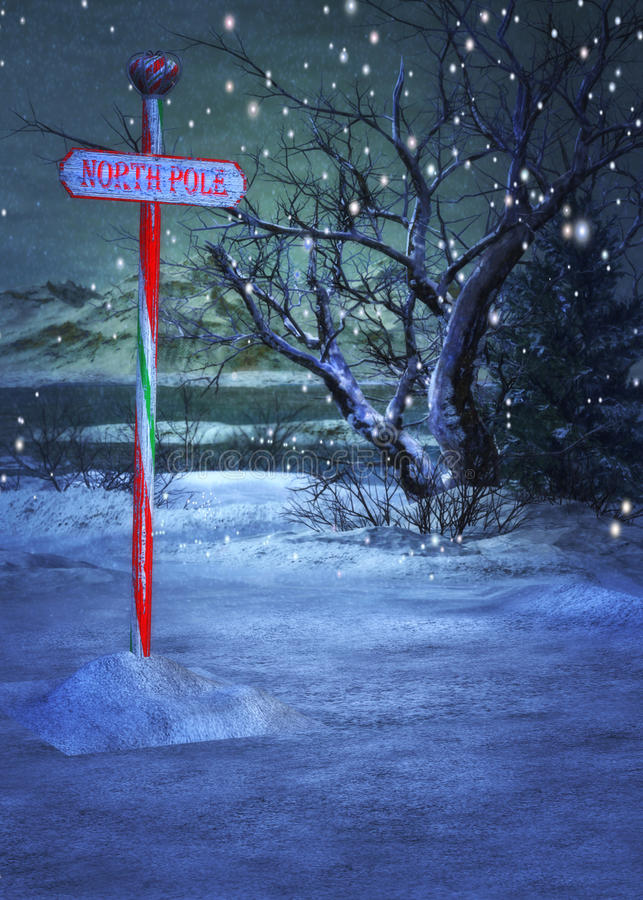 North Pole Sign. Magical winter scene with a North Pole sign vector illustration