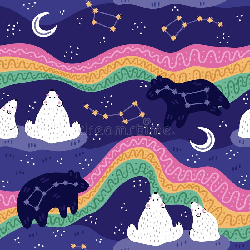 North pole starry sky. Polar bear family watching northern lights. Cute starry night scene. Seamless pattern. Vector illustration royalty free stock photography