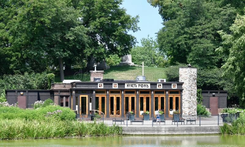North Pond Warming House. This is a Summer picture of the North Pond Warming House that is. Ow the North Pond Restaurant in Lincoln Park located in Chicago stock image