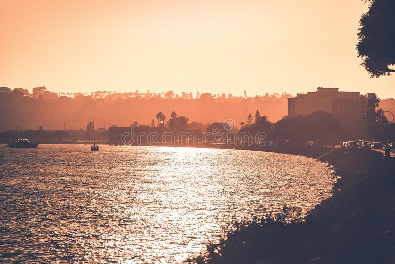North San Diego Bay. At Sunset. Reddish Heat Color Grading. San Diego, California, United States stock photo