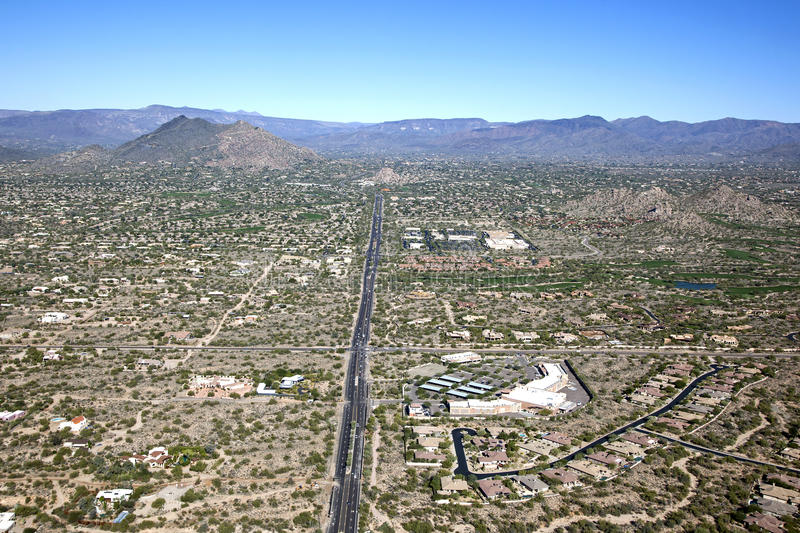 North Scottsdale and Cave Creek. Aerial view of north Scottsdale and Cave Creek, Arizona royalty free stock images