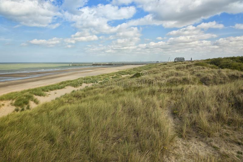 North Sea beach and dunes at Blankenberge, Belgium stock photography