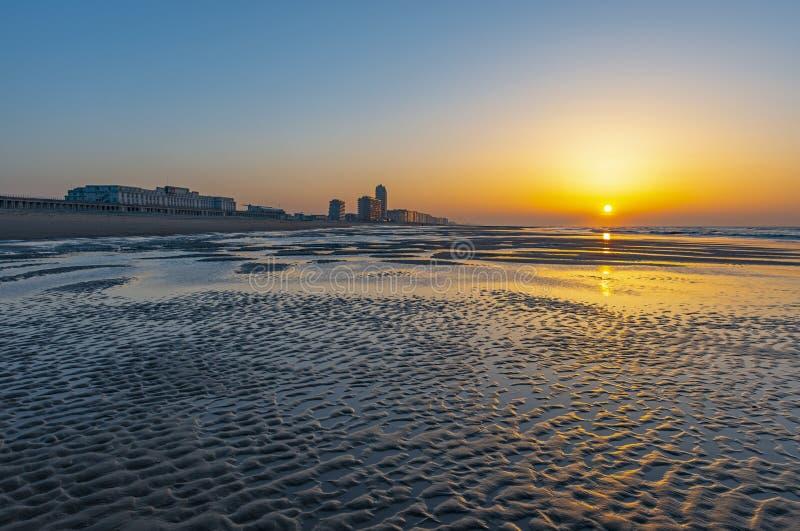 Ostend City Beach at Sunset, Belgium royalty free stock photo