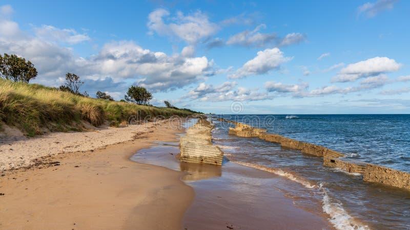 North Sea coast in Alnmouth, England, UK stock photo