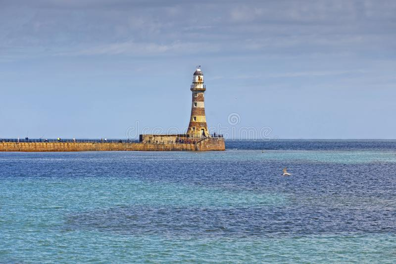 North Sea coast in Sunderland, Tyne and Wear, UK stock images