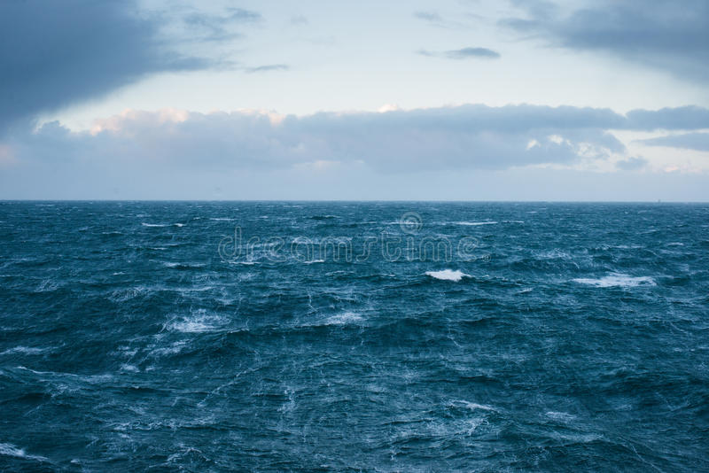 North Sea. 6 meters high waves in the North Sea outside Scotland stock photo