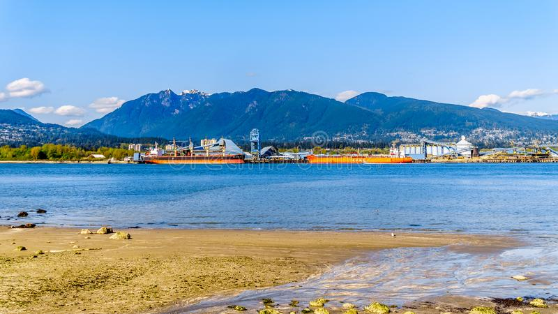 The North Shore and Burrard Inlet of Vancouver, BC, Canada royalty free stock photo