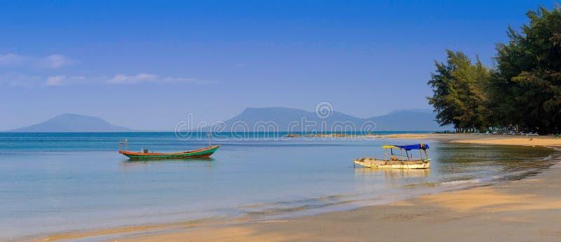 North shore of phu quoc island,vietnam. 2 fishing boats on the north shore of phu quoc island,vietnam royalty free stock photos