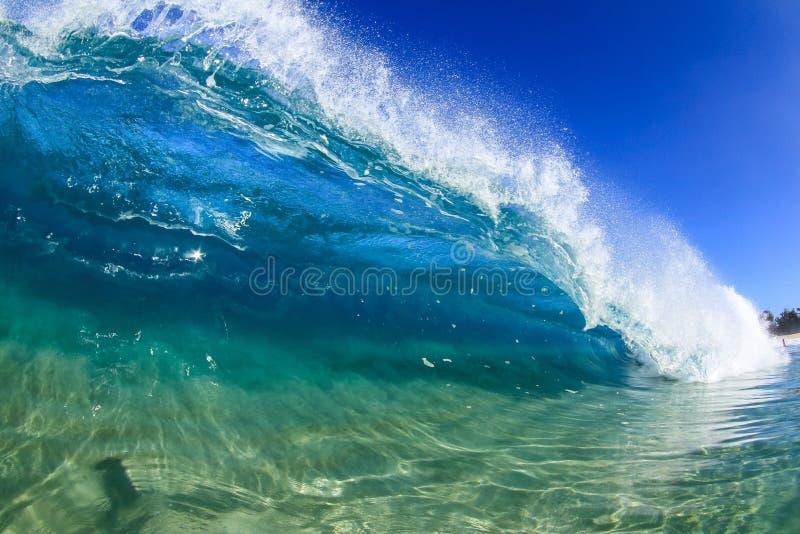 North shore shorebreak. Shorebreak wave on the north shore of oahu stock photo