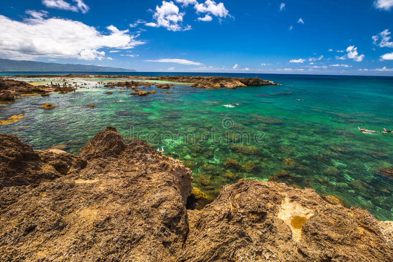 North Shore Snorkeling. Shark's Cove, one of best scenic stops along the popular North Shore. Sharks Cove is the second best snorkeling site on Oahu, North Shore royalty free stock photo