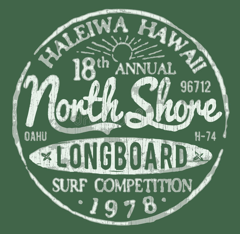 North Shore Surf Themed Vintage Design royalty free illustration