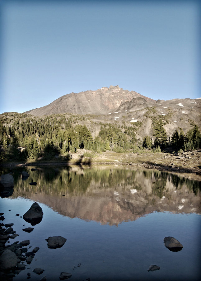 North Sister Reflection stock photography