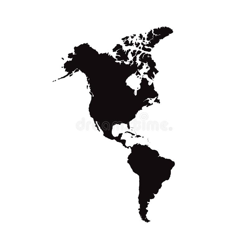 North and South America. Mainland America. Modern Map - America with all countries complete vector illustration