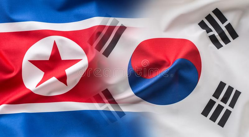 North and south korea flag. Colorful south and North Korea flag. Waving in the wind royalty free stock photography