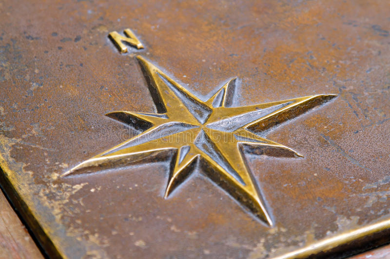 North star. Close up shot of north star in brass metal stock images