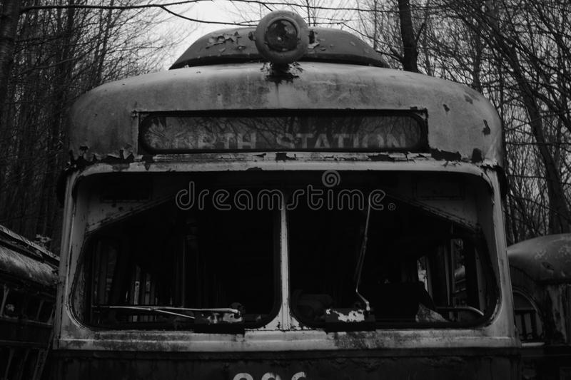 North station Abandon Trolley graveyard in the woods. A Abandon Trolley grave yard in the middle of the woods royalty free stock photo
