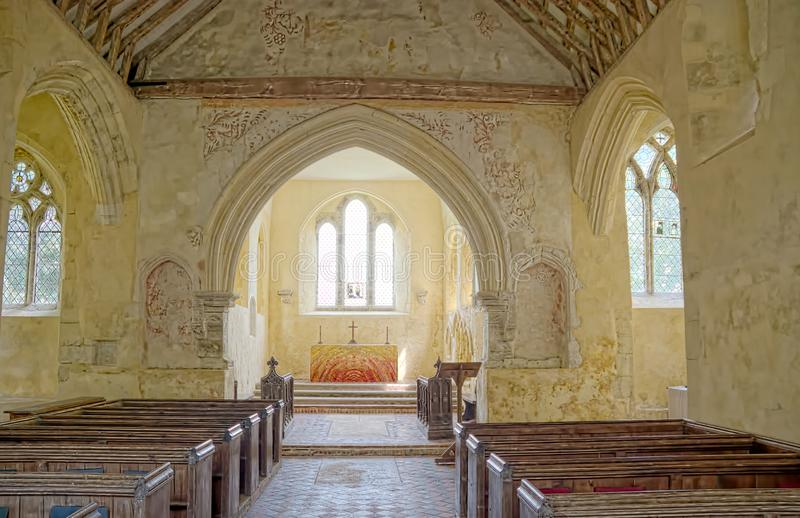 North Stoke Church interior wall paintings. St Mary The Virgin. Sussex, UK. North Stoke Church, rededicated in 2007 to St Mary the Virgin after its medieval stock photography