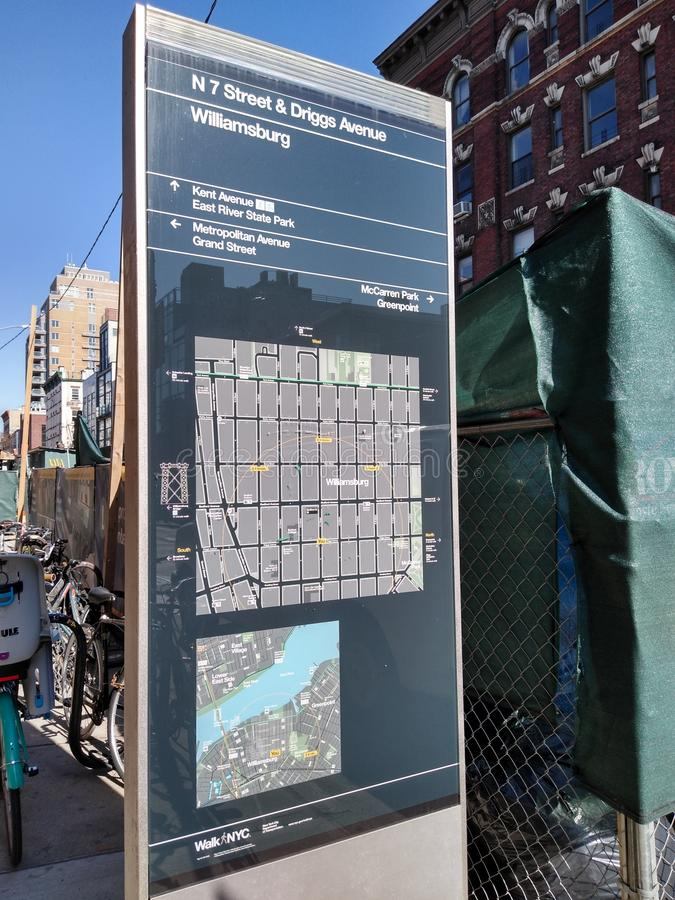 Williamsburg, Brooklyn, NYC, NY, USA, Map. North 7th Street and Driggs Avenue, Williamsburg, Brooklyn. This photo was taken on April 3rd 2019. williamsburg stock photography