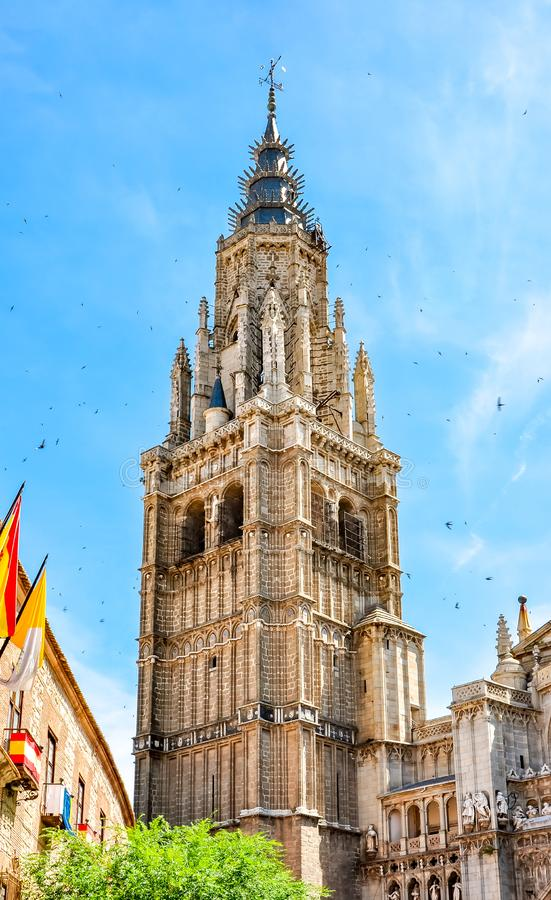 North tower of Toledo Cathedral, Spain royalty free stock images