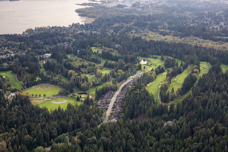 North Vancouver Aerial. Aerial view on the Golf Course, Baseball Field and residential homes in North Vancouver, British Columbia, Canada stock photography