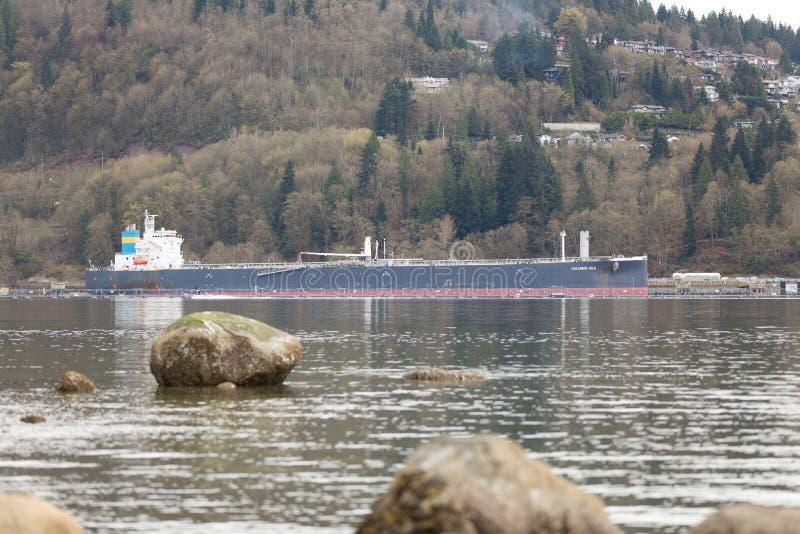 NORTH VANCOUVER, BC, CANADA - APR, 09, 2018: Oil tanker near the Parkland fuels refinery. NORTH VANCOUVER, BC, CANADA - APR, 09, 2018 Oil tanker near the stock images