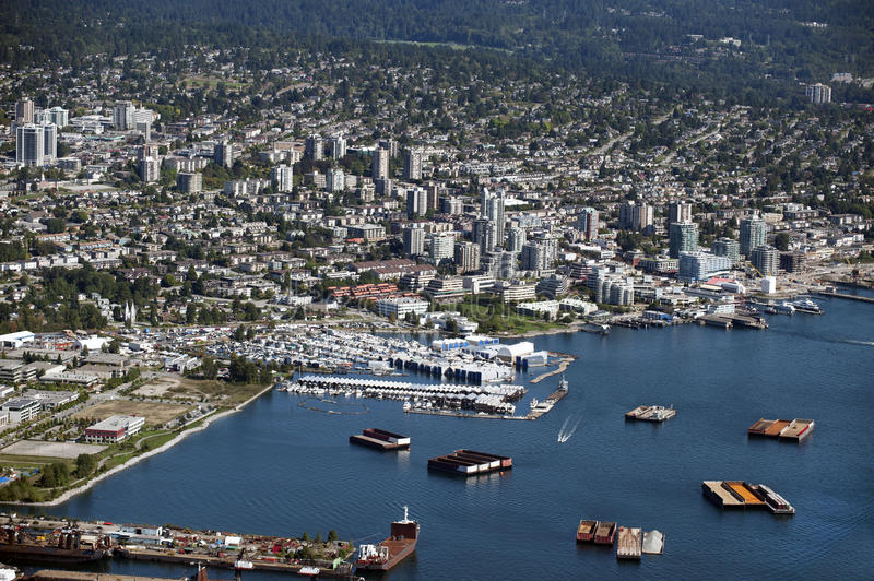 North Vancouver - port. And residential shore stock photos