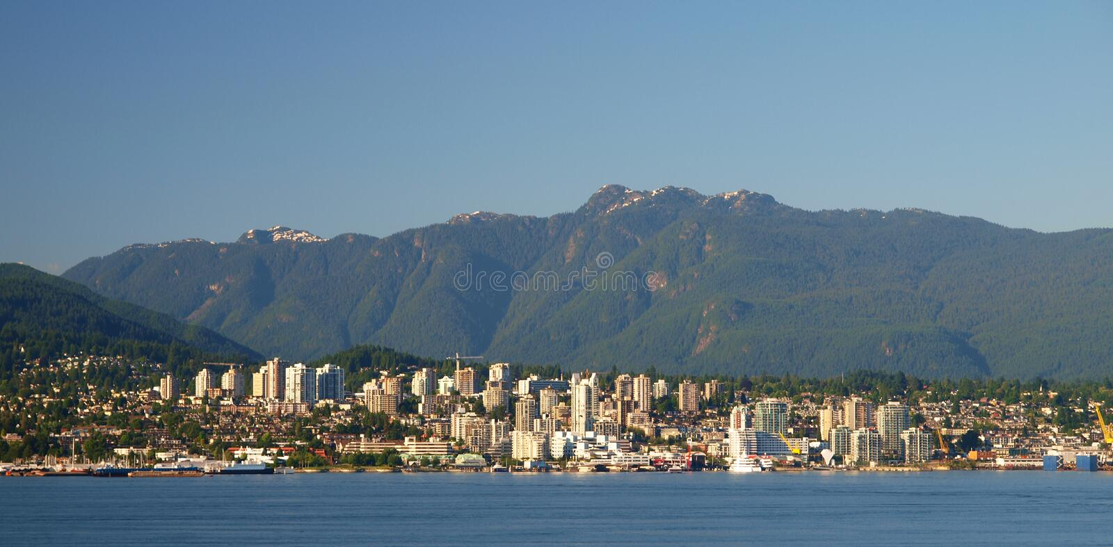 North Vancouver. Skyline and harbour, Canada royalty free stock images