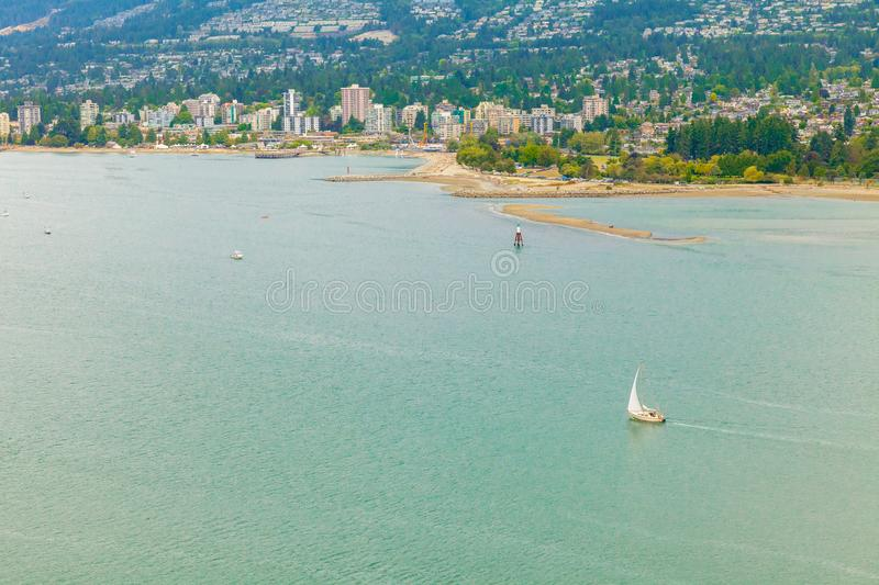 North vancouver and vancouver harbour aerial view royalty free stock photos
