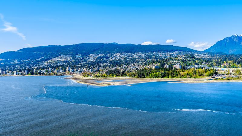 The Burrard Inlet, the entrance into Vancouver harbor in BC, Canada royalty free stock images