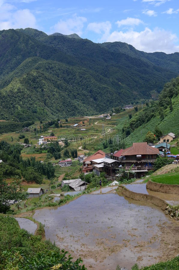 North Vietnam Landscape. Green mountains and rice fields near Sapa, Vietnam royalty free stock image