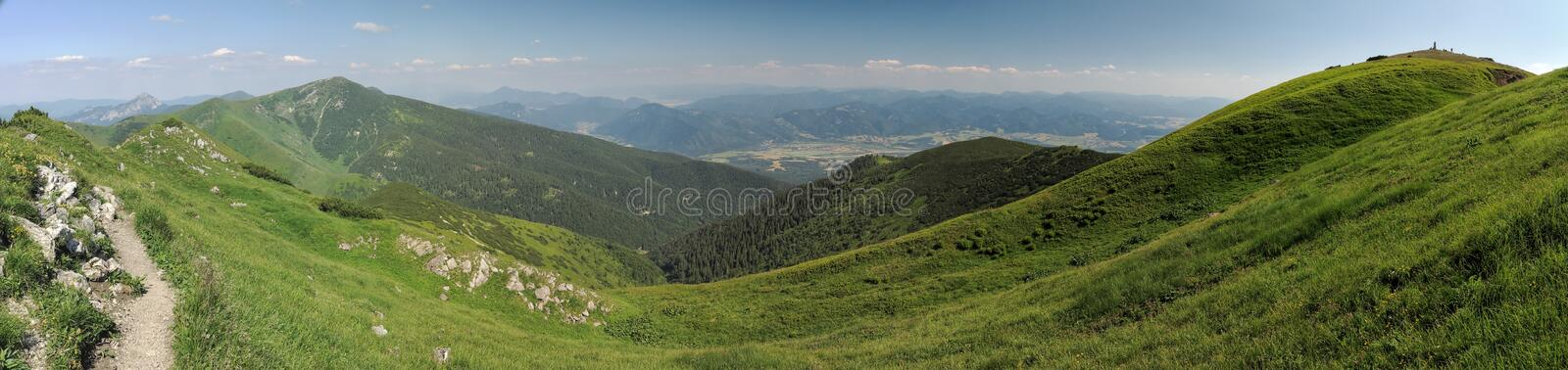 North view from Maly Krivan mountain in Mala Fatra mountains stock photography
